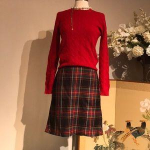 J Crew Red Plaid Fit/Flare Skirt Sz 4